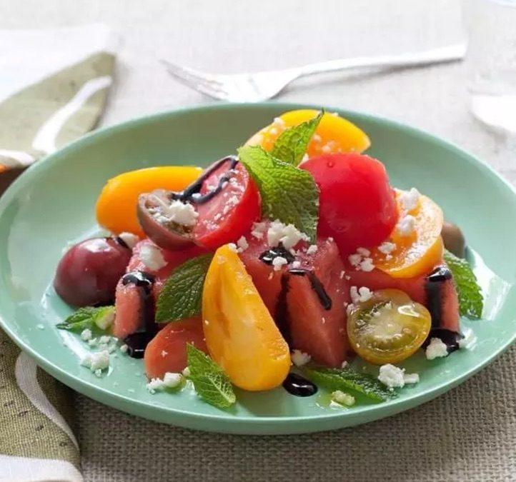 Refreshing Watermelon, Basil, and Heirloom Tomato Salad