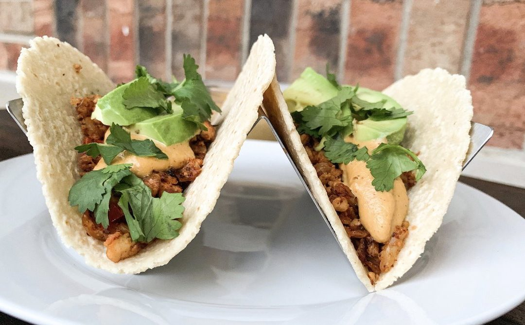 Sofritas Tacos with Vegan Queso
